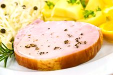Free Smoked Ham With Cabbage And Boiled Potatoes Royalty Free Stock Image - 6818286
