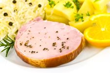 Free Smoked Ham With Cabbage And Boiled Potatoes Stock Photography - 6818292