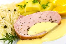 Free Smoked Ham With Cabbage And Boiled Potatoes Royalty Free Stock Images - 6818299