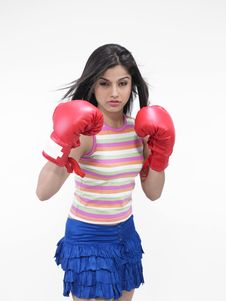 Free Asian Girl With Boxing Gloves Stock Photography - 6818422