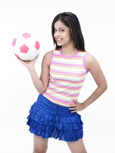 Asian Girl With A Football Royalty Free Stock Images