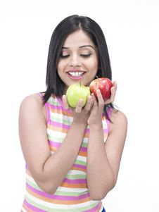Free Asian Woman With Two Apples Royalty Free Stock Photos - 6818508