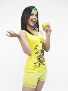 Free Asian Eating  A Green Apple Stock Photography - 6818682