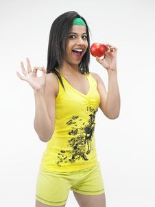Free Sexy Girl Eating A Red Apple Stock Images - 6818744