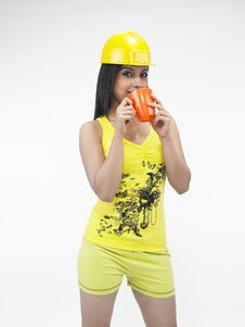 Construction Woman Drinking Tea Stock Photo