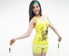Free Girl Doing Skipping Exercise Stock Image - 6818831