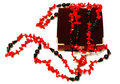 Free Coral Red And Black Beads (necklace) And Chest. Stock Images - 6820794