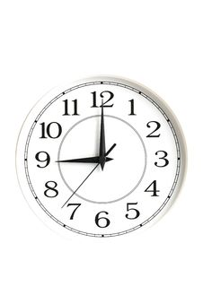 White Clock Showing Nine O Clock Isolated Royalty Free Stock Image