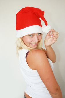 Free Woman Wearing Santa Hat Royalty Free Stock Photography - 6821177