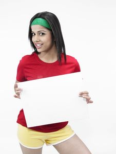 Asian Girl With A Blank Placard Royalty Free Stock Images