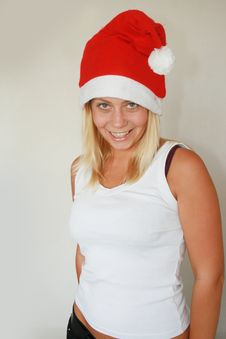 Free Woman Wearing Santa Hat Royalty Free Stock Photography - 6821237