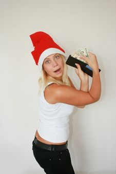 Free Woman Wearing Santa Hat Royalty Free Stock Photography - 6821247