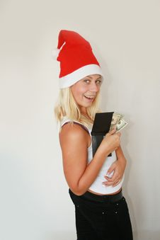 Free Woman Wearing Santa Hat Royalty Free Stock Photography - 6821337