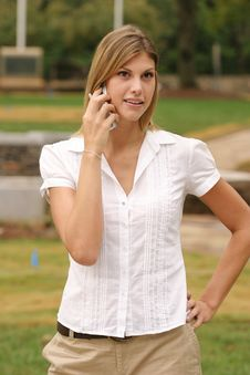 Free Young Woman Using Cell Phone Stock Photos - 6821713
