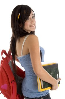 Free Teenager Student With Books And Bookbag Stock Photography - 6824032
