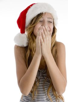 Free Laughing Girl With Christmas Hat Royalty Free Stock Images - 6824289