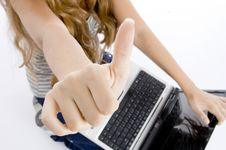 Free Girl With Laptop Royalty Free Stock Photography - 6824367