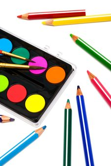 Paints And Color Pencils Royalty Free Stock Photography