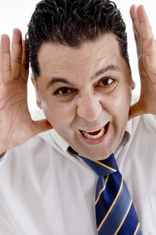 Businessman Making Funny Face Stock Photo