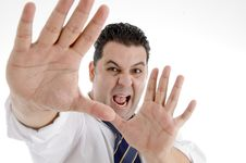 Free Shouting Businessman Showing His Palms Royalty Free Stock Photography - 6824697