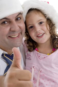 Free Father And Daughter With Christmas Hat Royalty Free Stock Photo - 6824935