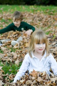 Playing In The Autumn Leaves Stock Images