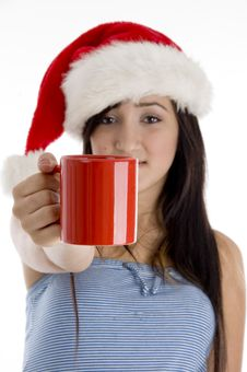 Free Girl Showing Coffee Mug Stock Photos - 6825383