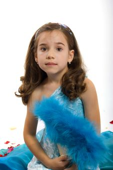 Little Princess In Blue Royalty Free Stock Images