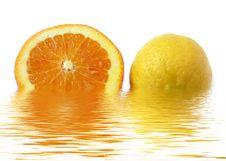 Slice Of Orange And Lemon Stock Image