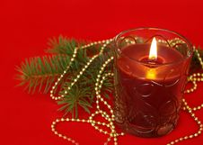 Free Candle And Decoration On Red Royalty Free Stock Photography - 6827717