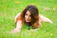 Free Beautiful Woman Lies On A Grass Royalty Free Stock Photo - 6828395