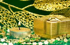 Free Golden Gift Box And Candle Stock Image - 6828691