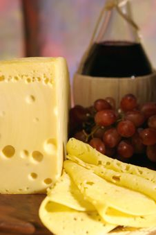 Cheese, Grape And Wine. Stock Images
