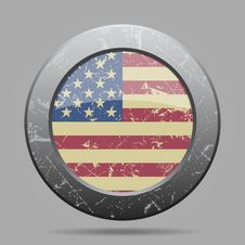 Vintage Metal Button With Flag Of USA - Grunge Stock Photos