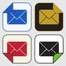 Free Four Square Sticky Icons - Mailing Envelope Stock Photography - 68284842