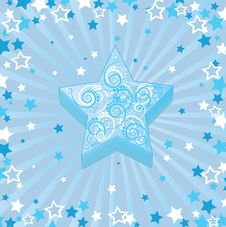 Free Christmas Blue Stars Stock Image - 6830011