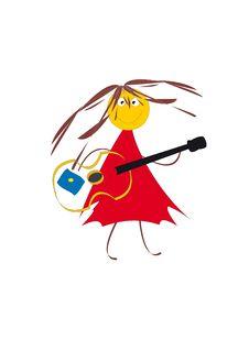 Girl With A Guitar. Stock Photos
