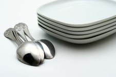 Free Plates And Shining Spoons Royalty Free Stock Photo - 6830505
