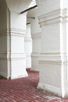 White Columns Of Ancient Architecture Stock Photo
