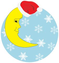 Free Christmas Half Moon In A Hat Against Snowflakes Royalty Free Stock Photos - 6830788