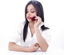 Free Pretty Girl Talking On The Phone Royalty Free Stock Images - 6830949