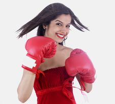 Free Girl With Red Boxing Gloves Stock Photos - 6831083