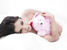 Free Teenager Sleeping With Her Teddy Stock Images - 6831394
