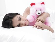 Free Woman In Bed With Teddy Bear Stock Image - 6831481