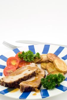 Free Roasted Pork With Potatoes Royalty Free Stock Photo - 6831595