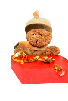 Free Teddy Bear With Gift Box Royalty Free Stock Images - 6832109