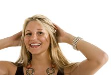 Free Blonde With Great Smile Both Hands In Hair Royalty Free Stock Images - 6832669