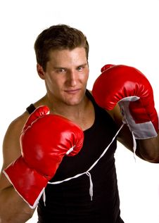Free Boxer With Red Gloves Tied Together Royalty Free Stock Images - 6833599