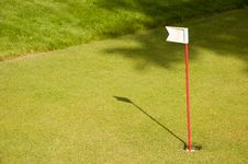 Golf Green With The Flag Stock Image