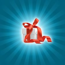 Free Present Box With Blue Background Royalty Free Stock Image - 6835456